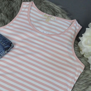 NWT Michael Kors Womens Pink Striped Tank Tops M